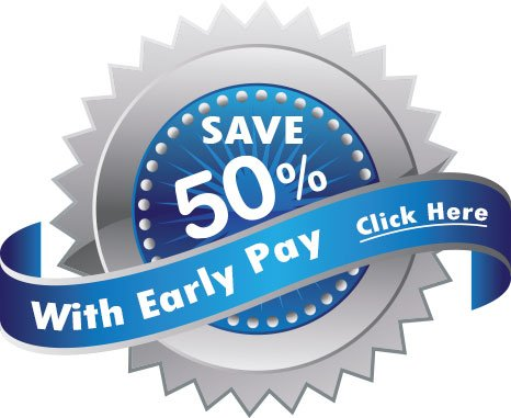Save 50% if you pay early badge